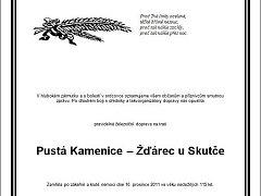 Symbolické parte trati ze Žďárce u Skutče do Pusté Kamenice