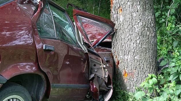 Vozidlo bylo nárazem do stromu zcela zdemolováno.
