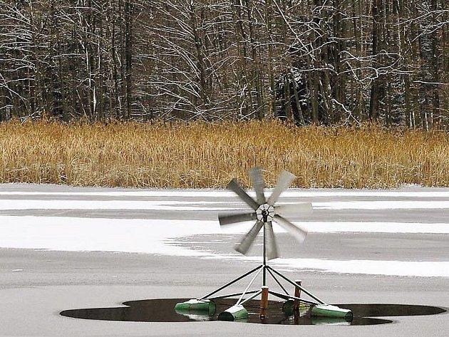 Velká straka je téměř celá pod ledem, kolem větrníku je hladina stále volná.