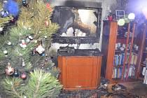 Požár v chrudimském bytě.