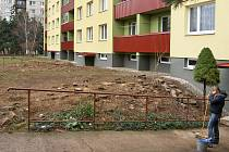 PROČ? Keře, které poskytovaly dostatek zeleně po celé délce domu, jsou vytrhány a tento týden by se navíc měly pokácet některé vzrostlé borovice.
