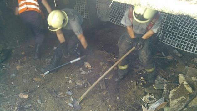 Kůň se propadl podlahou stodoly do sklepa. Vyprostit ho museli hasiči.