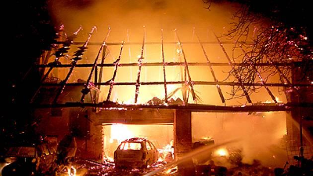 Požár stodoly v Křižanovicích.