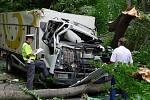Řidiči chladícího vozu Iveco spadla na silnici ve směru od Hradiště do Nasavrk na auto spadla těžká buková větev. Nehodu nepřežil.
