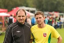 Předseda Okresního fotbalového svazu Chrudimska Aleš Meloun (vlevo).