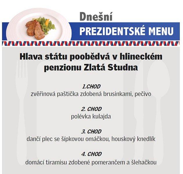 Prezidentské menu.