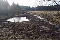 V místě bývalé vodní nádrže Velký Černý na říčce Valčice, která protéká u obce Studnice, vybudovaly Lesy ČR nákladem téměř čtyř milionů korun soustavu třinácti stabilizačních příčných srubových prahů a dvou kamenných skluzů.