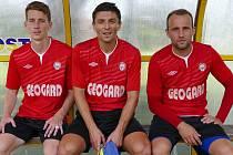 Hrdinové utkání, zleva doprava: Jakub Krčál (1 gól), Jan Štoček (1 gól) a Lukáš Kopecký (3 góly)