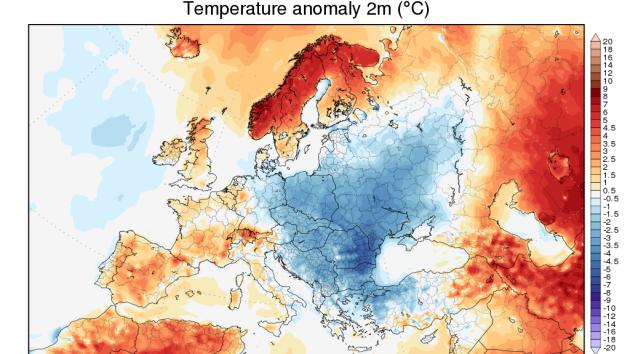 Předpověď teplotní odchylky na sedm dní na přelomu května a června v Evropě