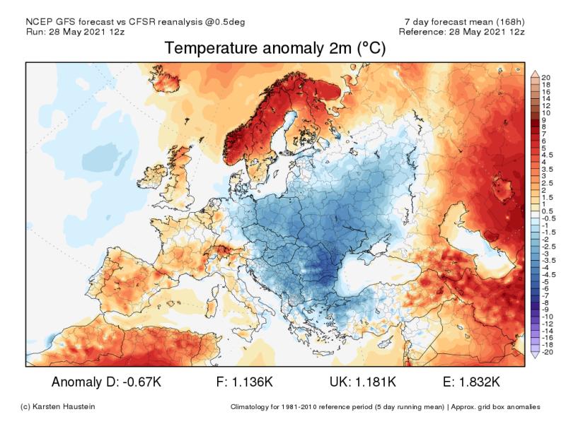 Předpověď teplotní odchylky na příštích sedm dní v Evropě