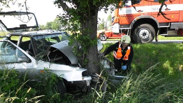 Automobil v Dašicích narazil do stromu, zraněn byl řidič i jeho psí spolujezdec.