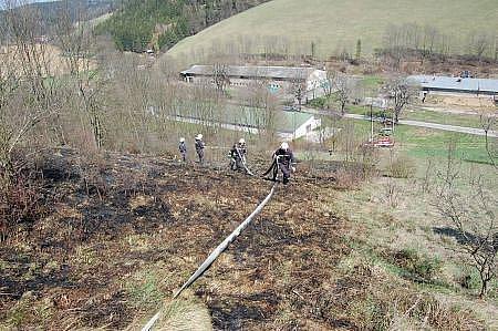 Požár suché trávy a náletových dřevin vBřezové nad Svitavou.