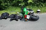 Srážka auta s motocyklem v Bystřici