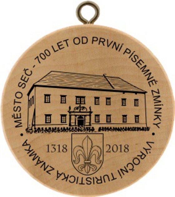 Turistická známka k výročí první písemné zmínky o městu Seč.