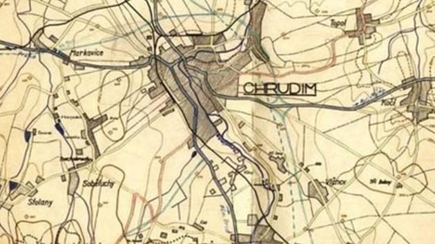 Hitlerovy plány na východní obchvat Chrudimi: Soudě dle dvou čar se uvažovalo o dvou variantách, obě však vedly podobným koridorem.