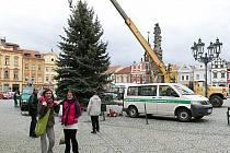 Instalace vánočního stromu v Chrudimi.