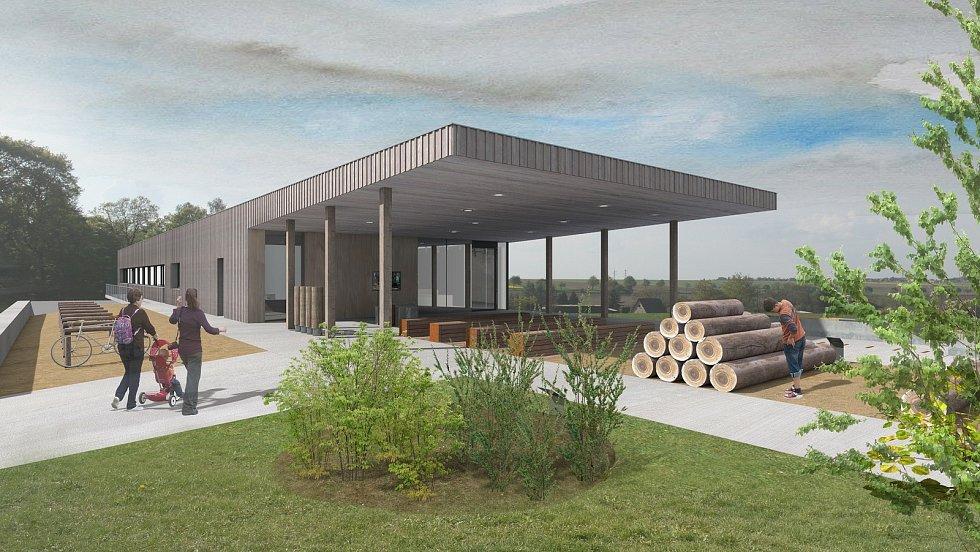 Architektonický návrh Domu přírody, který má být součástí Rekreačních lesů Podhůra.