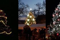 Města rozsvítila vánoční stromy - koláž.
