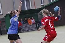 Z utkání I. národní ligy házené žen HK Hlinsko – TJ Spartak Modřany 19:9.