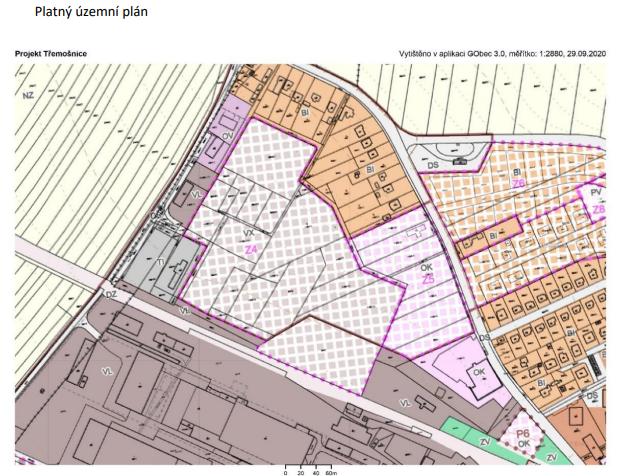 Platný územní plán lokality průmyslové zóny vTřemošnici a jiné možnosti využití, okterých se rozhodne vreferendu (viz titulek ukaždého obrázku)