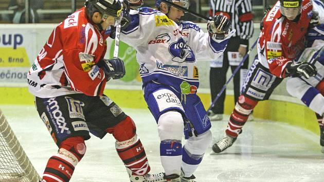 Z utkání I. hokejové ligy Kometa Brno - Hc Chrudim 5:3.