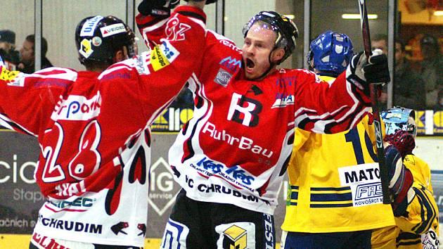Z prvního finálového utkání play off II. hokejové ligy Chrudim - Milevsko.
