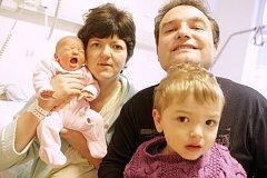 BARBORA VOSMÍKOVÁ (51 cm a 3,37 kg) se narodila 21.12. v 19:12. Pro Alenu a Petra z Hlinska byla nejkrásnějším vánočním dárkem, doma se na sestřičku těšil také bráška Jakub (3,5).
