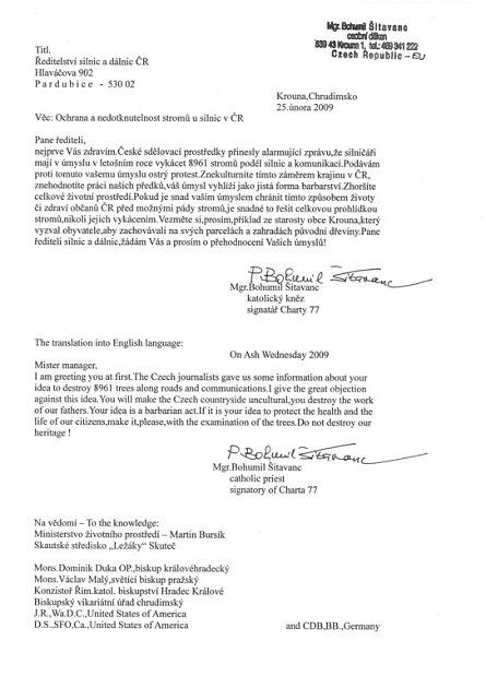 Katolický farář Bohumil Šitavanc protestuje dopisem proti kácení stromů usilnice