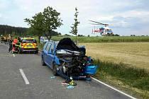 Srážka osobního automobilu a motocyklu u Předhradí