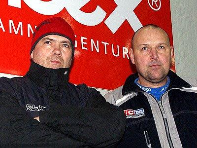 Odcházející trenér Ladislav Lubina (vpravo) s asistentem Jiřím Zavoralem.