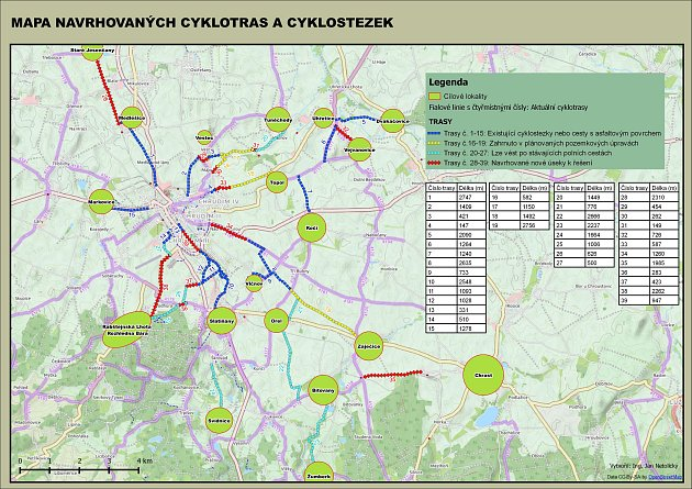 Mapa navrhovaných cyklotras a cyklostezek