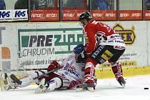 Z utkání I. hokejové ligy Chrudim - Poruba 5:0.