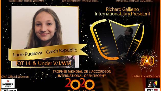 Lucie Pudilová uspěla na světové soutěži akordeonistů.