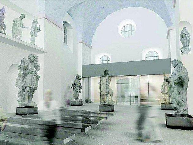 VIZUALIZACE INTERIÉRU dokončovaného muzea zobrazuje i nezřetelné siluety budoucích návštěvníků.