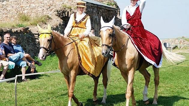 Na nádvoří   hradu Lichnice mohli při Jezdeckém dni návštěvníci vidět koně Kinských