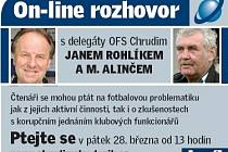 Online rozhovor Chrudimského deníku s Janem Rohlíkem a Miroslavem Alinčem.