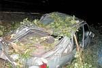 Řádění bouře na Chrudimsku. U motorestu Skalka spadl strom přímo na zaparkovaný vůz.