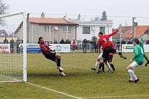 Z utkání 1. jarního kola ČFL: MFK Chrudim – Loko Vltavín 3:1 (3:1).