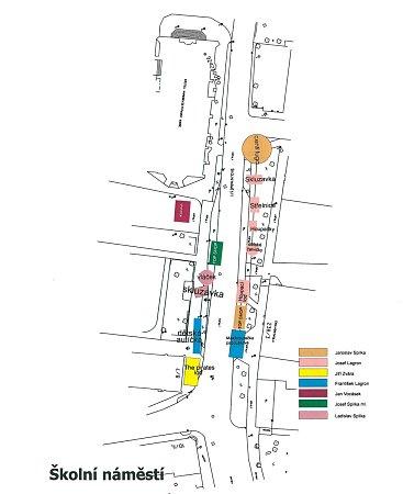 Plán rozmístění atrakcí chrudimské pouti 2014.