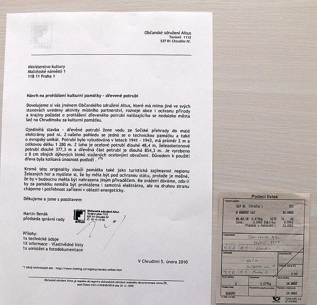 Dopis občasnkého sdružení Altus pro Ministertsvo kultury ČR.