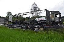 Požár kamionu u Dřevíkova