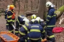 Taktické cvičení hasičů vLovětínské rokli