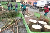 Likvidace vánočního stromu na Resselově náměstí.
