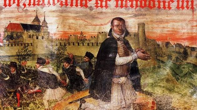 První vyobrazení Chrudimi z Chrudimského kancionálu z druhé poloviny 16. století.