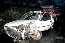 Srážka dvou vozidel u Holetína.