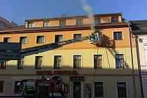 Požár hotelu Centrál v Chrudimi