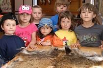 Děti z mateřské školky v Bítovanech vyrazily do Zaječic na výstavu mysliveckých trofejí, rybářství a včelařství v Kulturním domě.