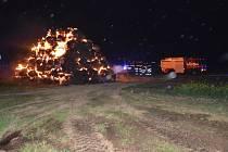 Požár stohu u Stolan