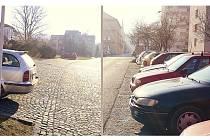 Vlevo na snímku situace ze pondělního rána na takřka prázdném parkovišti za Divadlem Karla Pippicha. Na pravé části dvojsnímku pohled ve stejný čas do Husovy ulice.