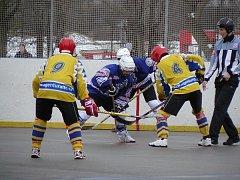 Nováček 1 nároční hokejbalové ligy, Ježci Heřmanův Městec, dokázal jako jediný podruhé v soutěži porazit lídra tabulky Kovo Praha.